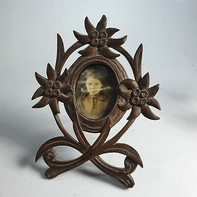 Beautiful Black Forest Carved Wooden Frame with Easel Stand c1900