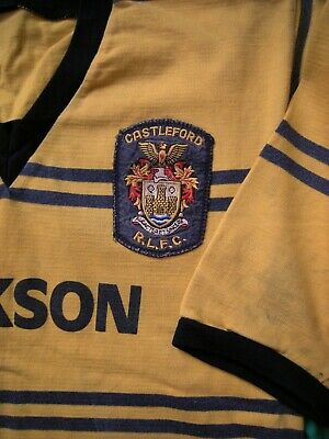 AUTHENTIC GENUINE VINTAGE 1980s CASTLEFORD RUGBY LEAGUE MATCH WORN SHIRT JERSEY