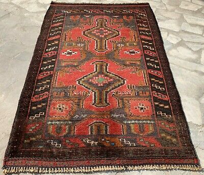 Authentic Hand Knotted Vintage Afghan Balouch Wool Area Rug 4 x 3 Ft (164 HM)