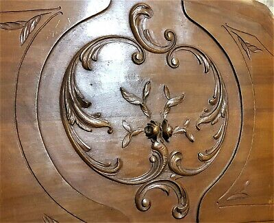 Large flower with scroll wood carving panel Antique french architectural salvage