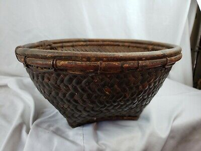 """Antique Chinese Handwoven Fruit Basket, Large, 14"""" wide"""
