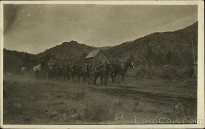 Cowboy/Western RPPC Nevada Mining: Team of Horses with Wagon Real Photo Postcard