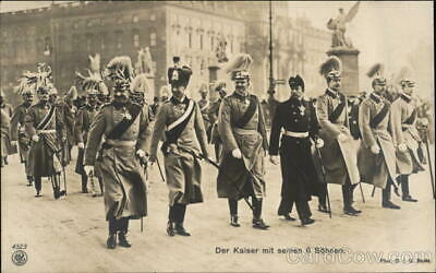 Royalty Kaiser Wilhelm II and His Six Sons Postcard Vintage Post Card