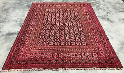 Authentic Hand Knotted Antique Afghan Turkmon Bashiri Wool Area Rug 8 x 7 Ft