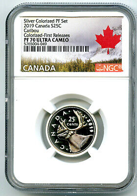 2019 Canada 25 Cent Silver Colored Proof Ngc Pf70 Ucam Quarter First Releases