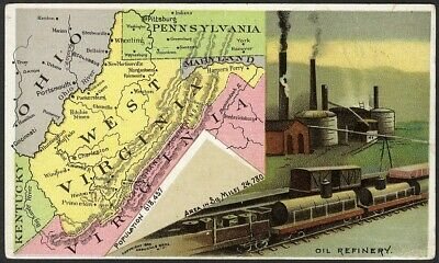 West Virginia ARBUCKLE'S Ariosa Coffee State MAP Oil Refinery Trade Card #57