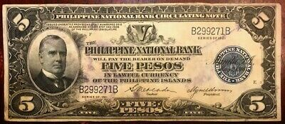 Philippine National Bank - McKinley - $5 - Five Pesos 1921 - Pick 53