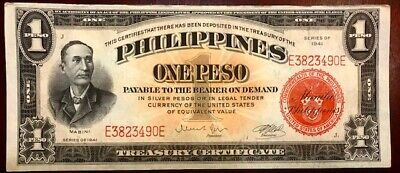 PHILIPPINES Treasury Certificate - One Peso 1941 - Pick 89 - CRISP UNCIRCULATED!