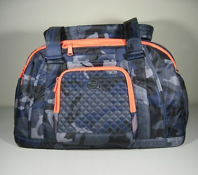 Lug Navy Camouflage Quilted Accent Propeller Duffel Bag w/ Neon Coral Trim