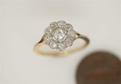 ANTIQUE ENGLISH 18K GOLD & PLATINUM OLD CUT DIAMOND CLUSTER DAISY RING c1920's