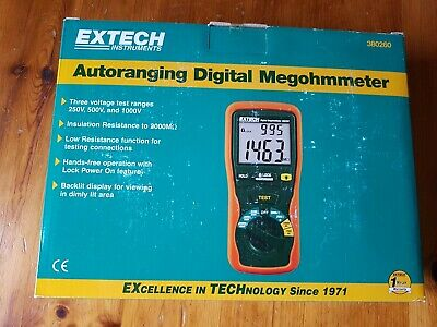 Extech 380260 Autoranging Portable, handheld Digital Megohmmeter. NEW!