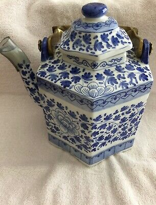 Vintage Blue And White Porcelain Tea Pot From China - Very Heavy - Pre-Owned