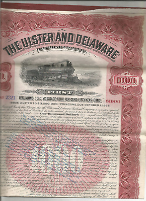 The Ulster & Delaware Railroad Co- 1St Refunding Gold Mtge 50 Yr. Bond- Due 1952