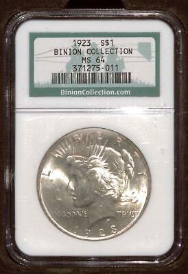 Binion Collection | 1923 Peace Dollar | NGC MS64 | Historic Silver $1 (VD038)