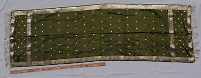 """69"""" antique Embroidered Table Runner Silk old dresser scarf green gold"""