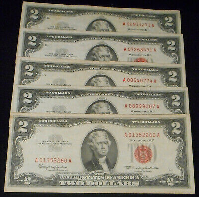 """5-1963 $2 """"RED Seal""""  United States Note - Fine Condition or Better."""