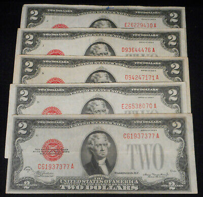 """5-1928 $2 """"RED Seal""""  United States Note - Fine Condition or Better."""
