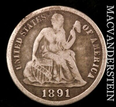 1891-S Seated Liberty Dime- Scarce- Better Date  #P9269