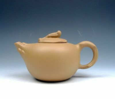 YiXing Zisha Pottery Hand Crafted Gourd Teapot w/ Snail On Leaf Lid #01302001