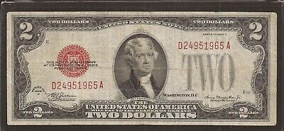 1928 D $2 United States Note (USN),Large Red Seal,Circulated VF,Nice!