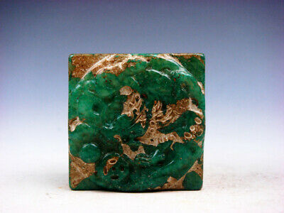 Old Nephrite Jade Stone Carved Seal Paperweight Curly Dragon & Coin #04262003