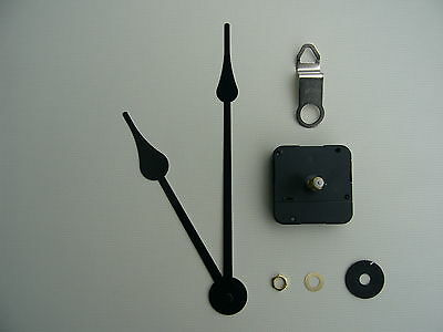 High Torque Clock Mechanism Extra Long Spindle 8 Inch French Spade Black Hands