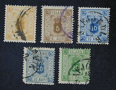 CKStamps: Iceland Stamps Collection Scott#O4/O8 Used #O4 Spot Thin