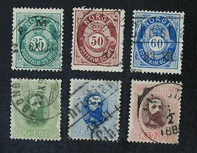 CKStamps: Norway Stamps Collection Scott#29-34 Used 1k 1.5k Thin