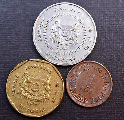 Coins ~ Singapore ~ $1 One Dollar 1997 ~ 50 Cents 2007 ~ 1 Cent 1969