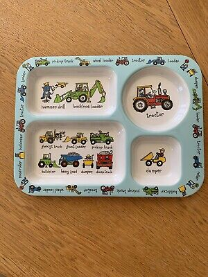 Tractor/digger Section Plastic Plate For Children/babies. Compartment Tray.