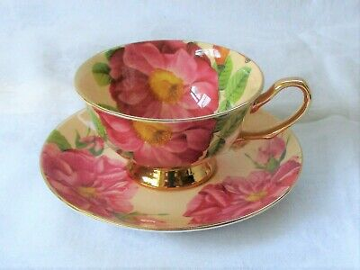 Cabinet Cup & Saucer Made By Silea Fine Bone China - Pink Roses & 24Ct Gold