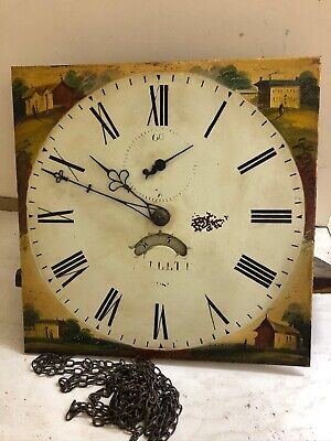 Good Antique 30hr Longcase Clock Movement And 12ins Dial