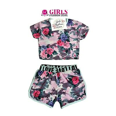Girls Pink Floral Crop Top & Shorts Set