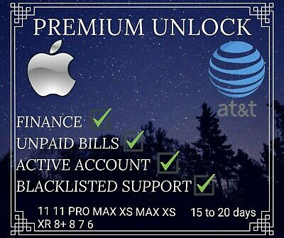 ALTERNATIVE PREMIUM UNLOCK SERVICE ATT AT&T iPHONE 11 11 PRO MAX XS XR X 8 SE