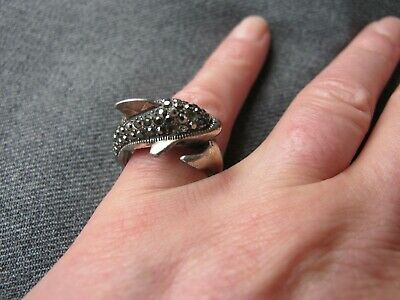 Vintage jeweled with marcasites silvered metal dolphin ring  Size 7