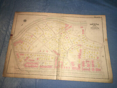 Lg. Antique 1919 Map Part of Brighton & Brookline Massachusetts on Cloth Paper
