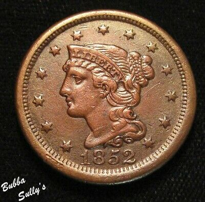 1852 Coronet Head Large Cent <> VF to XF Details
