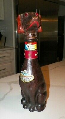 """Vintage 1967 Brown Leather Dog Chiati Bottle 14"""" Italy"""