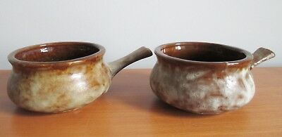 Beauceware Rustique 2 Handled Onion Soup Bowls 1970s Beauce Pottery Canada