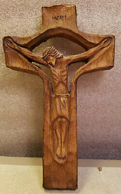 Hand Carved Wooden Cross Wall Hanging Jesus INRI Catholic Embossed