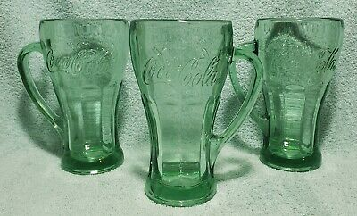 Vintage Libby Green Coca-Cola Thick Heavy Glass with Mug Handle 14 oz, Set of 3