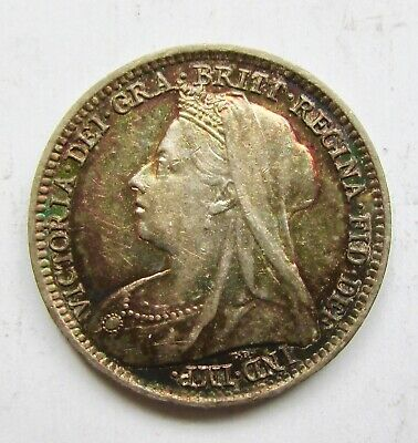 Great Britain 1896 Threepence 3d Beautiful Toned Queen Victoria
