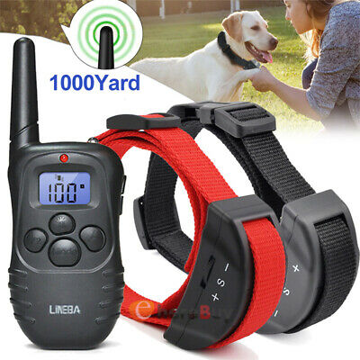 Waterproof 1000 Yard Dog Shock Training Collar Pet Trainer Remote For S/M/L Dog