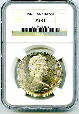 1967 $1 Canada Silver Dollar Ngc Ms61 Flying Goose On Reverse - Ms Uncirculated