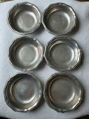 "Wilton Armetale Columbia Queen Anne 7"" Pewter Soup Cereal Bowls 1972 Lot of 6"