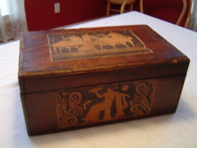 Antique Wood Box Documents, Storage