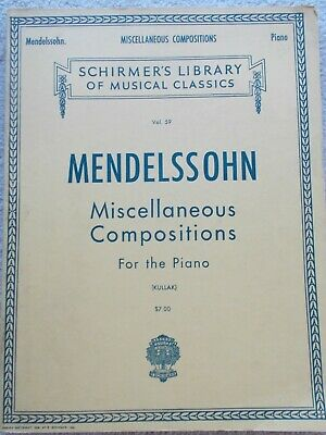 Mendelssohn Miscellaneous Works Piano Variety Unmarked