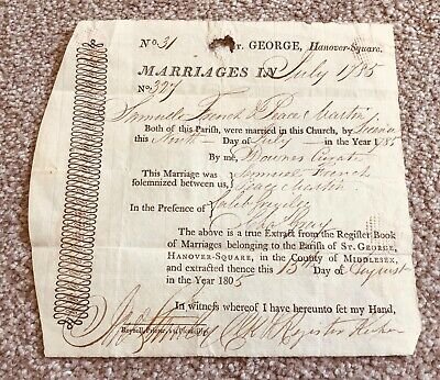 Antique Marriage certificate dated 1785. St. George Hanover Square.
