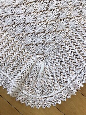Beautiful Hand Knitted White Baby Shawl - Sirdar Snuggly 2 Ply