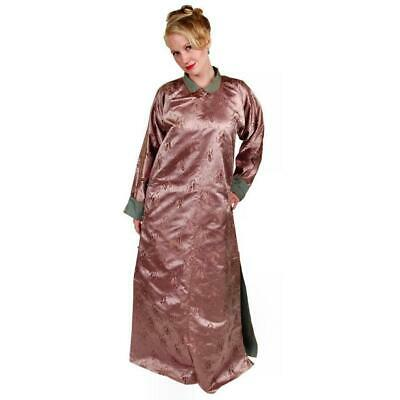 Antique Chinese Robe Dressing Gown Silk Damask Mauve Provenance ESSO Unisex